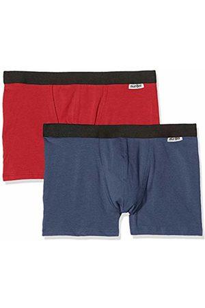 Nur Der Men's Boxer Cotton Strech Mode DP Shorts, (DKL. Blau/Rot 402)