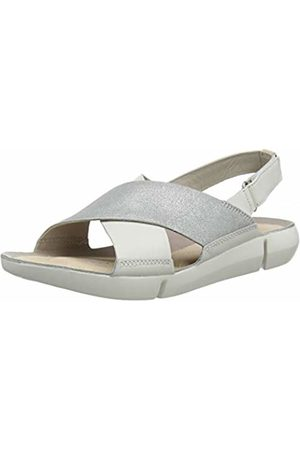e36e4b28a604 Clarks Tri Chloe Leather Sandals in  Silver Standard Fit Size 5½