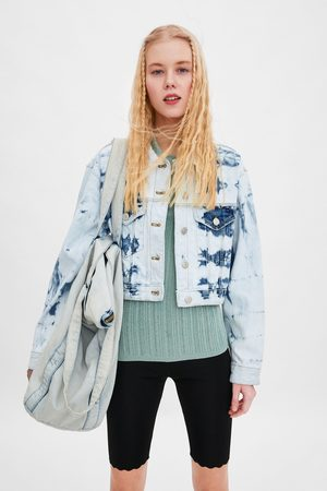 Zara Cropped tie-dye denim jacket