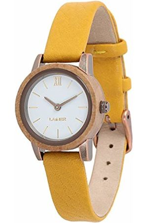 Laimer Women's Woodwatch FLORA Mod. 0093 applewood - Analogue Quartz-Wristwatch with leather-strap