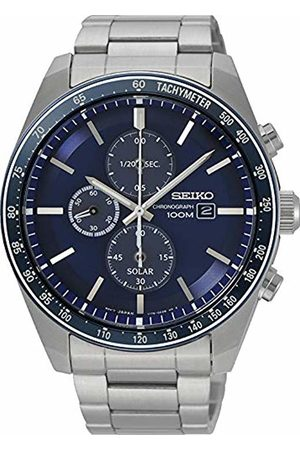 Seiko Mens Chronograph Solar Powered Watch with Solid Stainless Steel Strap SSC719P1