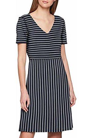 Vila Women's Viklari 3/4 Dress (Navy Blazer Stripes: Cloud Dancer)