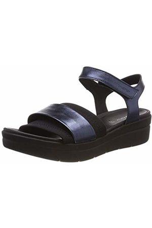 Stonefly Women's Aqua Iii 7 Laminated LTH/Lycra Ankle Strap Sandals Blu (Night 131) 3.5