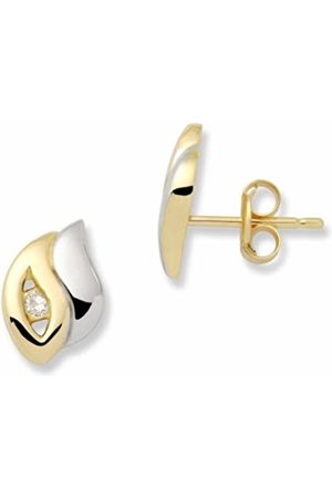 Miore MA125E Ear Studs 18 ct White/Yellow 750 with 2 Diamonds 0.07 ct