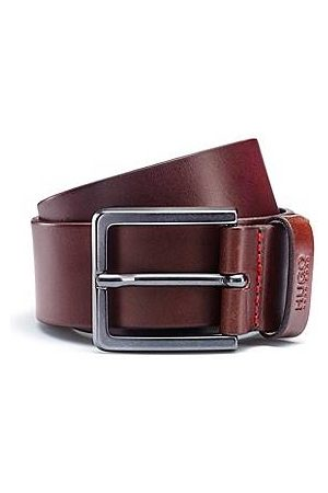 HUGO BOSS Leather belt with matte gunmetal hardware