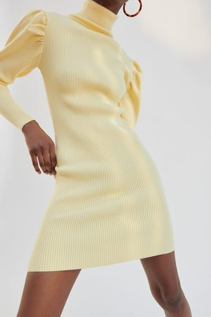 Zara Knit dress with puff sleeves