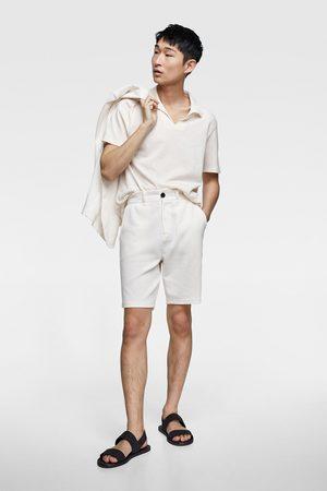 Zara Textured weave bermuda shorts