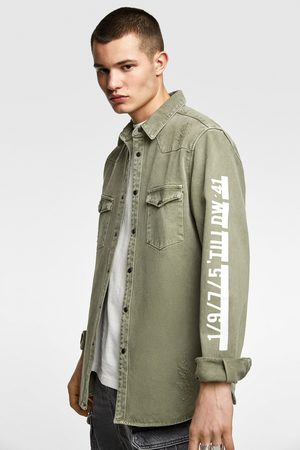 Zara Slogan-printed denim overshirt