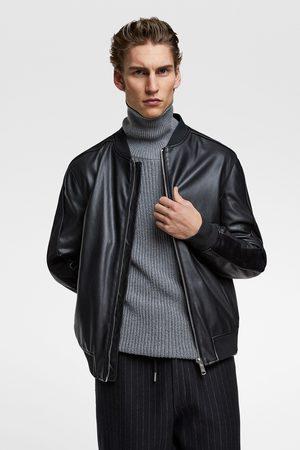 Zara Contrast faux leather bomber jacket