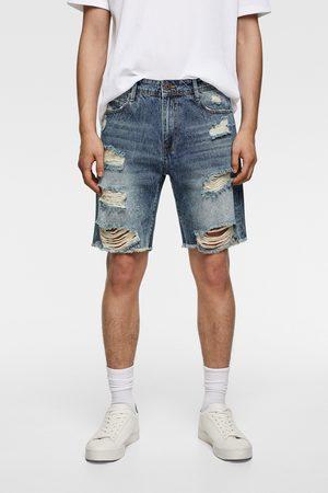Zara Ripped denim bermuda shorts