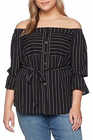 Lost Ink Women's Bardot TOP in Stripe with Buttons Long Sleeve, Print 0089