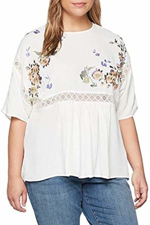 Lost Ink Women's Smock TOP with Blossom Embroidery T-Shirt