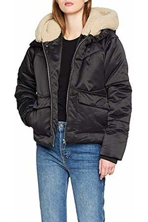 Urban classics Women's's Ladies Sherpa Hooded Jacket (Blk/Dark Sand 01483)