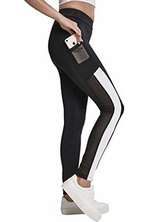 Urban classics Women's's Ladies Tech Mesh Striped Pocket Leggings (Blk/Wht 00050) W28 (Size: Medium)