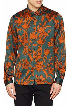 New Look Men's Tobacco Sateen 6114378 Casual Shirt
