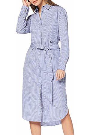 Tommy Hilfiger Women's TH Essential MIDI Shirt Dress LS Blau (Ithaca STP/Deep Ultramarine 518)