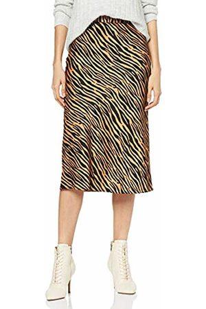 warehouse Women's's Zebra Print Satin Bias Cut Midi Skirt, (Tan 11)
