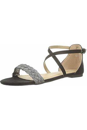 The Divine Factory Women's's Rosaria Open Toe Sandals (Noir 001) 6.5 UK