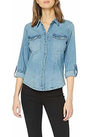 Noisy May Women's's Nmdilem Ls Slim Shirt Vi027mb Noos Blouse, (Medium Denim)