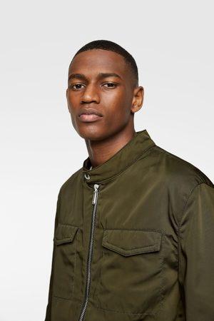 Zara Contrast faux leather jacket