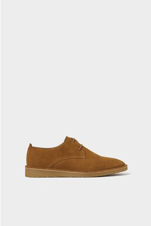 Zara Brown leather derby shoes