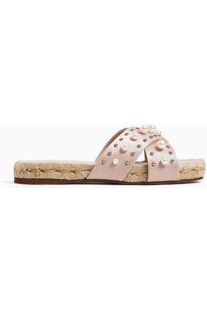 03f6567b335 Zara Jute sandals with pearl beads