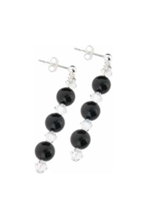 Earth Onyx and Swarovski Crystal Beaded Earrings at 4cm in Length