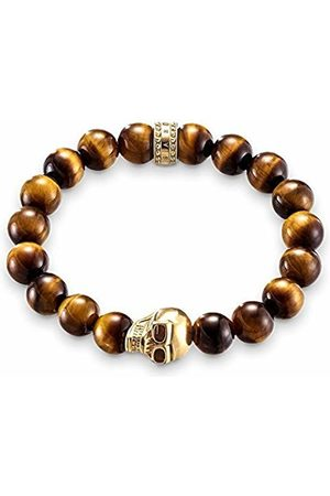 "Thomas Sabo Bracelet ""Skull"" Gold Plated Yellow Gold/Tiger's Eye of Adjustable Length 20cm"