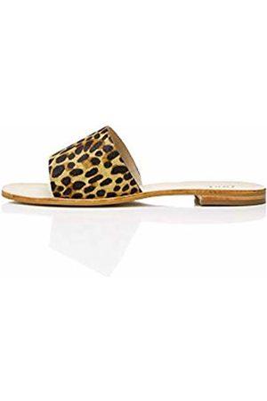 FIND Simple Slide Leather Open-Toe Sandals, Leopard)