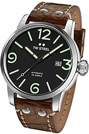 TW steel Maverick Men's Automatic Watch with Black Dial Analogue Display and Brown Leather Strap MS16
