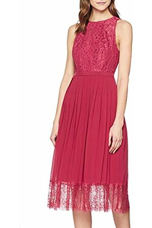 Little Mistress Women's Nadja Lace Pleat Midi Dress Party (Cranberry 001)