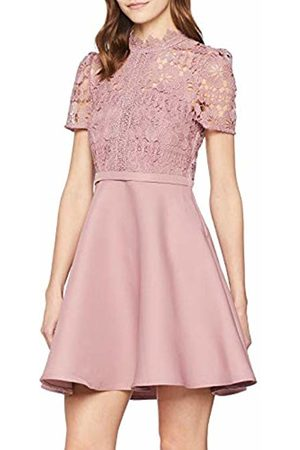 Little Mistress Women's Alanis Blush Lace Top Mini Skater Dress Party, (Dusty 001)