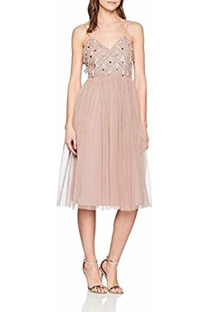 Little Mistress Women's LIDA Blush Hand-Embellished Midi Dress Party, (Dusty 001)