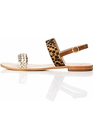 FIND Two Band Slingback Leather Open-Toe Sandals, Tan)