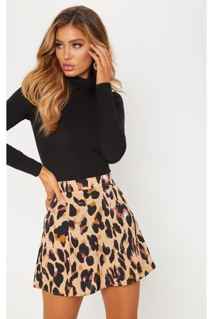 PRETTYLITTLETHING Leopard Print Satin Mini Skirt