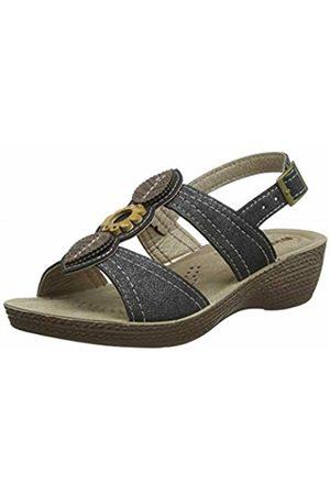 Inblu Women's Gloria Ankle Strap Sandals, (Nero 014)