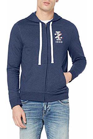 Izod Men's IZ Logo Zip Hoodie Blau (Club 432)
