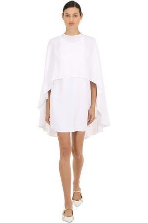 Sara Battaglia Women Dresses - Viscose Crepe Mini Dress W/ Chiffon Cape