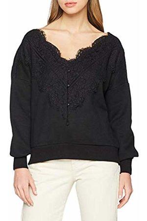 Lost Ink Women's Sweat with LACE Neckline Sweatshirt, ( 0001)
