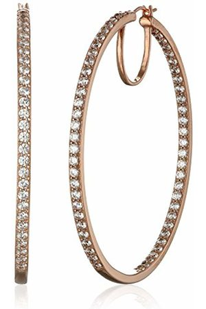 La Lumiere Rose Gold Plated Sterling Silver Swarovski Zirconia (7cttw) 5.08cm Round Hoop Earrings