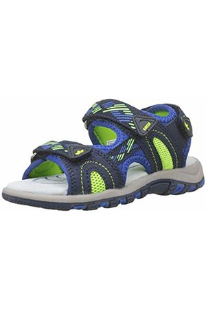 LICO Boys' Luca V Ankle Strap Sandals, Blau/Lemon