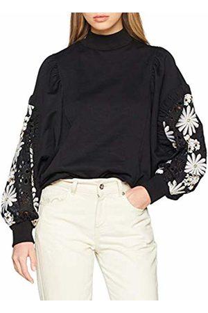 Lost Ink Women's Sweat with Woven Sleeve Sweatshirt, ( 0001)