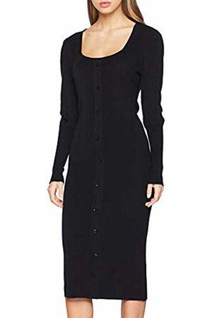 Lost Ink Women's Puff Sleeve Button Through Knit Dress ( 0001)