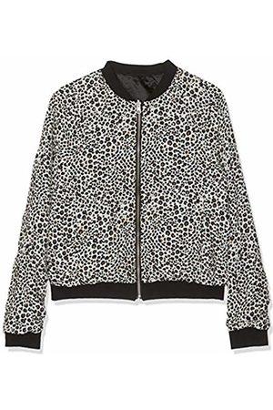 Kiss IKKS Girls' Bomber Reversible Noir/Blanc Print Leopard Jacket, Multicolore Cassé Imp 19