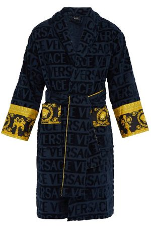 VERSACE I Love Baroque Logo-jacquard Cotton Bathrobe - Mens - Navy