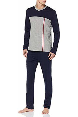 LVB Men's Jersey Pyjama Set (Blu + Grigio Melange 128) Large (Size: 5)