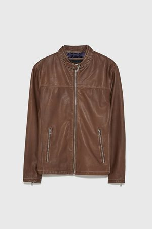 Zara Topstitched leather jacket