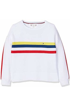 Tommy Hilfiger Girl's Retro Placed Stripe Sweater Jumper, (Bright 123)