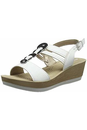 Inblu Women's Erika Ankle Strap Sandals, (Bianco 001)