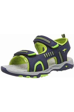KangaROOS Kids' K-Logan Closed Toe Sandals Blau (Dk Navy/Lime 4054) 5 UK